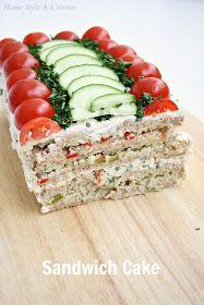 Home Style & Cuisine: Sandwich Cake (бутербродный торт) - Home Style & Cuisine: Sandwich Cake (бутербродный торт) - Sandwhich Cake, Sandwich Platter, Sandwich Loaf, Tea Party Sandwiches, Appetizer Sandwiches, Appetizers, Brunch, Homemade Sandwich Bread, Snacks Für Party