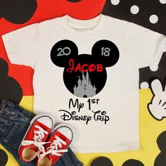 Going to Disney for a family and kids first trip or vacation!? Then your little boy definitely needs this personalized Mickey Mouse with castle shirt, bodysuit, or outfit! If you like the design but it isnt your little ones first trip to Disney, then I can make the design with his