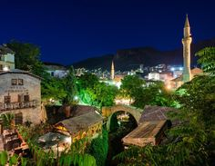 Beautiful summer night in Mostar, a look on the scenic Old Town.
