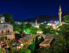 Beautiful summer night in Mostar, a look on the scenic Old Town.  Visit our website: www.tourguidemostar.com #travel #travelworld #tourguidemostar #visitmostar #herzegovina #stonebridge #oldbridge #summer #bosniaandherzegovina