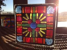 Stained Glass Mosaic Glass Blocks for $35 at Paper Collector in St Cloud  www.colorfulgirl.com Mosaic Bottles, Mosaic Glass, Fused Glass, Glass Art, Mosaic Projects, Mosaic Ideas, Art Projects, Glass Block Crafts, Glass Blocks