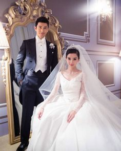 While the exact cost of Chinese superstar Angelababy's bridal gown isn't public, the fact that her wedding to actor Huang Xiaoming came out to a remarkable $31 million makes it pretty safe to assume the pair spent a pretty penny on the dress. After all, her custom Dior design reportedly took five months to create and featured several dozen Chantilly lace rose bouquets, as well as an extravagant 10-foot train.