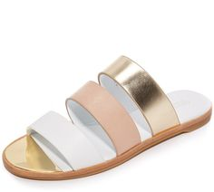 Rachel Zoe Colorblock Strappy Slide Sandals In Beige Bling Shoes, Fab Shoes, Me Too Shoes, Metallic Shoes, Metallic Leather, Real Leather, Ankle Strap Sandals, Leather Sandals, Shoes Sandals