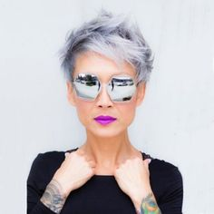 9 Big Hair Trends For 2019 As Predicted By The Experts - Short Hairstyles For Grey Hair 2019 Long Pixie Hairstyles, Hairstyles With Glasses, Great Hairstyles, Short Hairstyles For Women, Pixie Haircuts, Gatsby Hairstyles, Braids For Black Hair, Big Hair, Short Hair Cuts