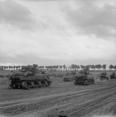 BRITISH ARMY NORMANDY 1944 (B 6018)   Sherman tanks of 29th Armoured Brigade, 11th Armoured Division assembling during Operation 'Epsom', 26 June 1944.