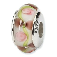 Sterling Silver Reflections Pink Floral Hand-Blown Glass Bead Shop4Silver. $13.96. Save 74%!