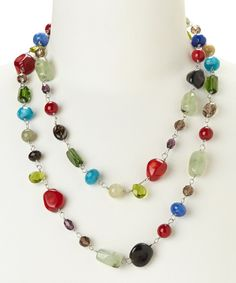 Look at this Red & Blue End-Of-Day Necklace on #zulily today!
