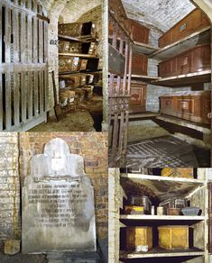 London, England: The West Norwood Cemetery has a remarkable collection of historic monuments. Even more fascinating, however, are the catacombs below the chapel on site. As these images show, there is a remarkable collection of coffins in spaces of various sizes.