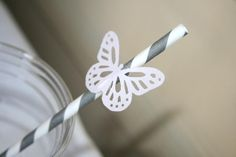 Gabriel and Belle Celebrations: butterfly straws: Belle's Butterfly Inspired Baptism