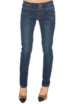 Moderní dámské džínové kalhoty Goddess - tmavě modré