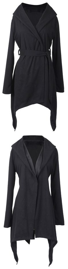 Only $29.99, 7 Days shipping with easy return! You gonna love this black hooded lapel coat detailed with waist belt&irregular hem. Have this open front style at Cupshe.com .