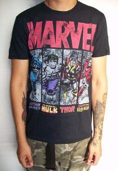Marvel Comics Mens T-Shirt - Distressed Comics 4 Character
