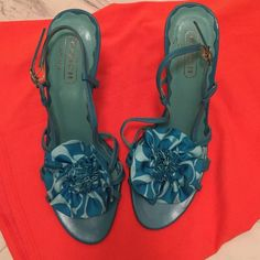 Coach leather turquoise and mint lsandals Great condition. Silk bow detail, it's so soft! Coach Shoes Sandals