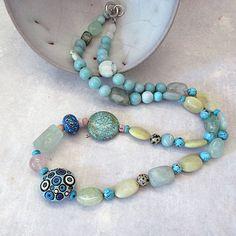 Blue Necklace Blue Gemstones Statement Stone by InekedeVries Blue Necklace, Gemstone Necklace, Gemstone Beads, Beaded Necklace, Beaded Bracelets, Ceramic Jewelry, Ceramic Beads, Agate Beads, Glass Beads