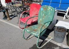 Fantastic Pair Of 1930's Art Deco Style Vintage Lawn Chairs Nashville Flea Market, Flea Market Style, Vintage Chairs, Vintage Decor, Red Accent Chair, Metal Lawn Chairs, Car Chair, Painted Chairs, Retro Home Decor