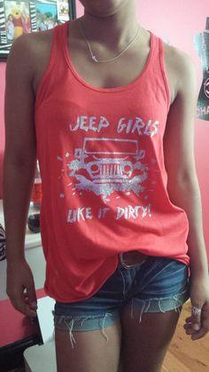 glitter jeep girl design flowy razor back  by ShellsSimpleStitches, $22.99