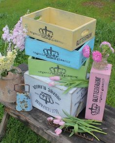 Glitterfarm crates are like vintage crates, but come in fun colors. I could use a zillion of these for embellishment storage!