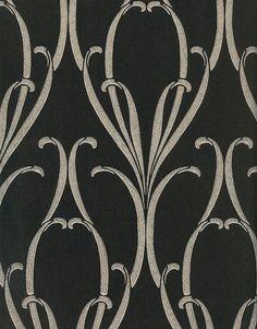 Black and silver Nouveau wallpaper