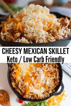 Cheesy Mexican Chicken Skillet (low carb/keto) - Otomotive Recipes Cheesy Mexican Chicken Skillet (l Poulet Keto, Comida Keto, Cooking Recipes, Healthy Recipes, Recipes For One, Easy Low Carb Recipes, Beef Recipes, Recipies, Low Carb