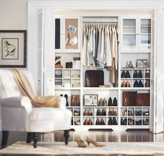 THE A-TYPE STYLIST: Shoes galore and clutter no more. Put your best foot forward with this modular closet system to display your prized shoe collection in an organized, easy-to-get-to way. Baxter Collection / Morgan Tufted Armchair