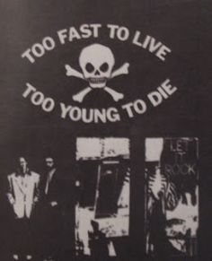 McLaren & Westwood's rock and roll inspired clothing shop. Originally called Let It Rock, Too Fast to Live Too Young to Die, 430 Kings Road, London, 1972. Later names, SEX, Seditionaries and World's End.