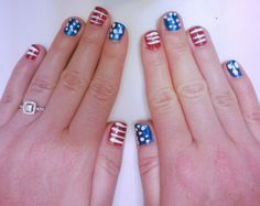 Patriotic nails, Veterans Day, Memorial Day, Fourth of July!  Gelous nail coat for base and top coat, Blue Year's Eve China Glaze, Red Satin China Glaze, White Color Club Nail Art striping brush for stripes and dots.