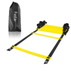 Fvstar Pro Speed Agility Ladder with Carry Bag Speed Footwork Training Equipment Yellow 5 M with 9 Rungs * Click image for more details.