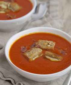 Tomato Soup with Grilled Cheese Croutons #springsupper #grilledcheese #easyrecipe #fromtheathleteskitchen