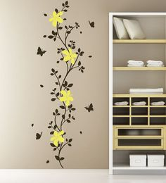 Decal Tree Branch Wall Decal Wall Sticker Decals Flower Decals for Walls Stick on Wall Art by DecalIsland-Branch Flower Butterflies SD 024 Simple Wall Paintings, Creative Wall Painting, Wall Painting Decor, Painting Wallpaper, Creative Walls, Home Wall Decor, Wall Painting Flowers, Wall Stickers Home Decor, Bedroom Wall Designs