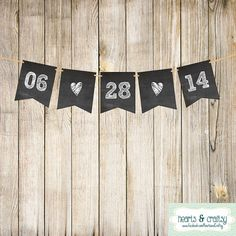 Chalkboard Style Save the Date Banner Wedding Sign Garland Engagement Photo Prop Anniversary Party Decoration on Etsy, $5.50