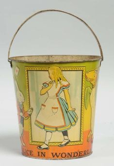 Early Tin Litho Alice in Wonderland Sand Pail.