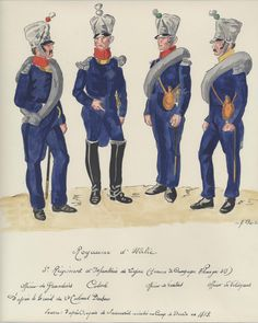 Italy; 3rd Line Infantry, Officers in Campaign Uniform in Germany 1813. L to R Grenadier Officer, Colonel, Fusilier Officer & Voltigeur Officer. It is unclear wether the Habits being worn have concealed buttons or Boisellier for an unspecified reason has omitted them from this sketch.