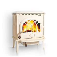 Jøtul F3 ivory enamel, wood fuel ONLY, 6kw, external ashpan, 70Hx57Wx48D. (Might work if revamping surround. NB. Wood only.)