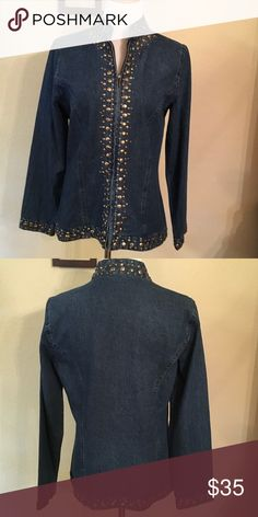 Keren Hart jean jacket NWOT. Jean jacket with zipper closure and gold studs down front and on sleeves.  Very nice. Jackets & Coats Jean Jackets