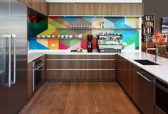love this... may with different color scheme for our kitchen. but love the idea!... Colorful kitchen with modern accents