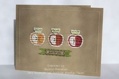 Stamped apples on text Designer Series Paper.