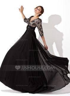 A-Line/Princess V-neck Sweep Train Chiffon Lace Evening Dress With Ruffle Beading Flower(s) (017030749) - JJsHouse
