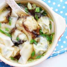 Vegetarian Wonton Soup (wood ear, broccoli, tofu, wrapper, seaweed, scallions, soy sauce, sesame oil)