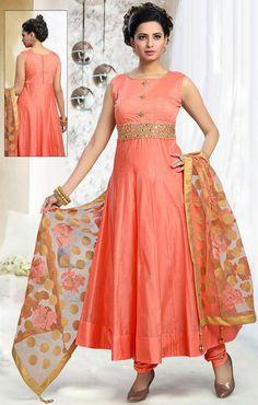Peach Art Silk Churidar Anarkali Suit with Dupatta - #WEDDING #SALWAR #KAMEEZ