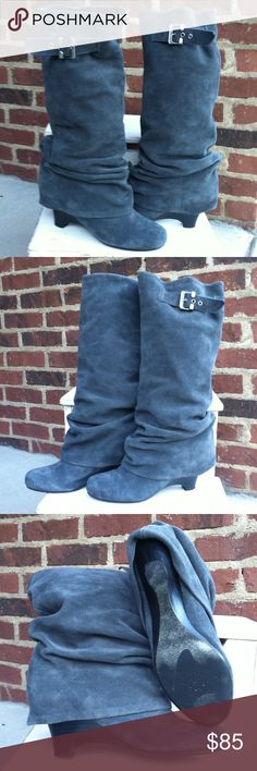 Naughty Monkey Hot! Grey Suede Slouch Boots Sz 8.5 Excellent Condition - Wore 1x - If you have any questions or concerns, please let me know. Naughty Monkey Shoes Winter & Rain Boots
