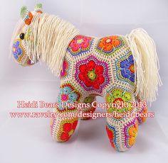 Ravelry: Fatty Lumpkin the Brave African Flower Pony Crochet Pattern pattern by Heidi Bears