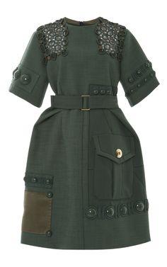 Green Hopsack Peplum Dress by Marc Jacobs Spring 2015 for Preorder on Moda Operandi