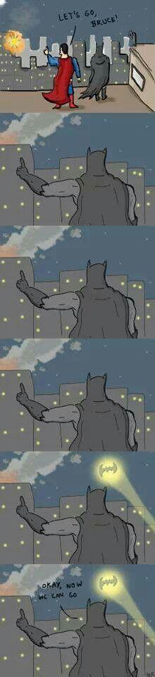 Batman and Superman Waiting for the Bat-Signal