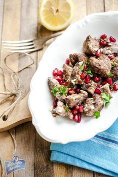 Wątróbka z granatem po libańsku Poland, Dinner, Ethnic Recipes, Food, Dining, Food Dinners, Essen, Meals, Yemek