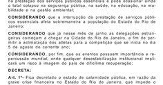 Governo do RJ decreta estado de calamidade pública devido à crise