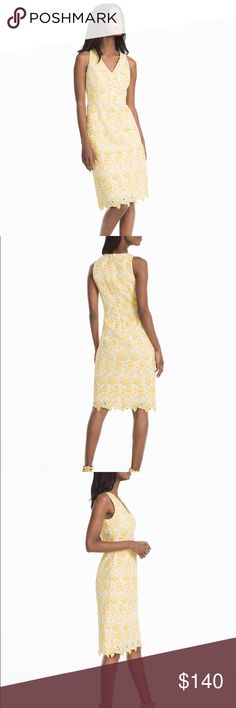 """White House Black Market Tonal Lace Dress Size 10 Intricate multi dimensional applique lace brings a dose of sunshine to the classic sheath. Fitted through the bodice with a knee-grazing hem, wear to work or your next party!  Blended yellow and white floral lace overlay with lining.  Tonal lace sheath dress in canary yellow and white  V-neck . Hidden back zip . Approx. 40"""" from shoulder  Fully lined .Polyester. Machine wash cold, turn inside out. Size 10. New with tags White House Black…"""