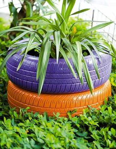 garden planter made of painted old car tires