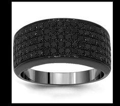 Men's black diamond wedding Ring