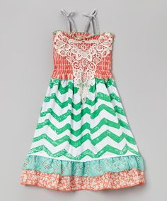 Look at this Green Zigzag Crochet A-Line Dress - Infant, Toddler & Girls on #zulily today!
