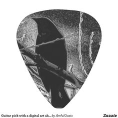 Guitar pick with a digital art abstract black bird